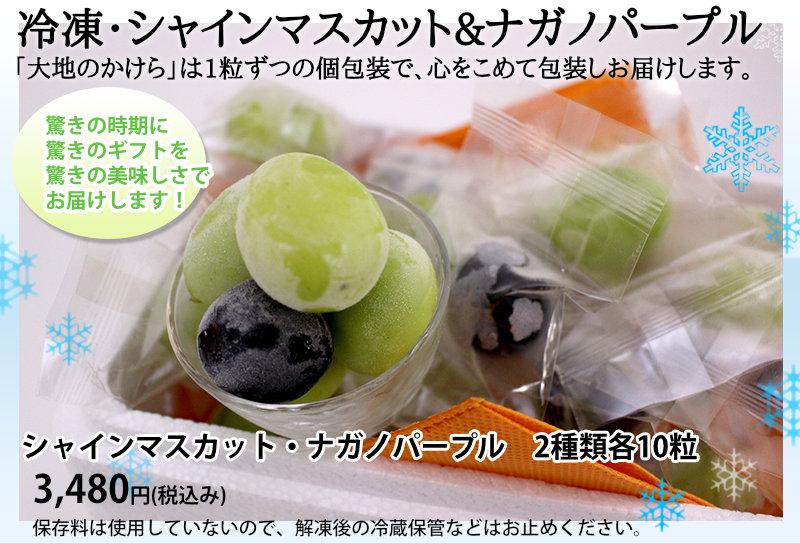冷凍・シャインマスカット&ナガノパープル 「大地のかけら」は1粒ずつの個包装で、心をこめて包装しお届けします。